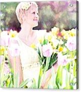 Vintage Val Spring Tulips Acrylic Print