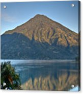Volcano And Reflection Lake Atitlan Guatemala Acrylic Print