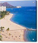 Waikiki Beach And Diamond Head Acrylic Print