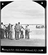 Waiting For Fish Holly Beach Now Wildwood New Jersey 1907 Acrylic Print