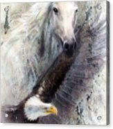 White Horse With A Flying Eagle Beautiful Painting Illustration Acrylic Print