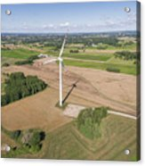 Wind Turbines In Suwalki. Poland. View From Above. Summer Time. Acrylic Print