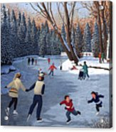 Winter Fun At Bowness Park Acrylic Print