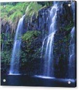 Woman At Waterfall Acrylic Print
