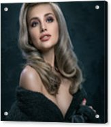 Woman In Big Curls Hollywood Glam Look Acrylic Print