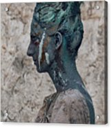 Woman In Bronze Statue Look With Patina Body Paint Acrylic Print