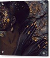Woman In Splattered Golden Facial Paint Acrylic Print