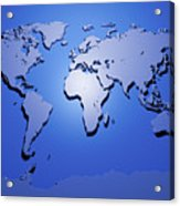World Map In Blue Acrylic Print by Michael Tompsett