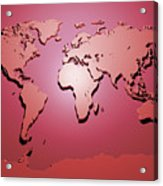 World Map In Red Acrylic Print