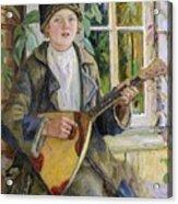 Young Boy With A Balalaika Nikolai Petrovich Bogdanov-belsky Acrylic Print