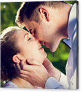 Young Romantic Couple Kissing With Love In Summer Park Acrylic Print