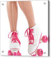 Young Woman Wearing Roller Derby Skates Acrylic Print