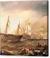 Miller Charles Henry Shipping Off Gibraltar Charles Henry Miller Acrylic Print