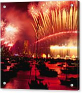 20 Tons Of Fireworks Explode Acrylic Print