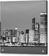 2010 Chicago Skyline Black And White Acrylic Print by Donald Schwartz