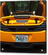 2012 Mc Laren Exhausts And Taillights Acrylic Print