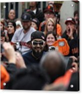 2012 San Francisco Giants World Series Champions Parade - Sergio Romo - Dpp0007 Acrylic Print by Wingsdomain Art and Photography