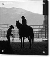 201208107-047k Cowgirls Preparing To Ride 2x3 Acrylic Print