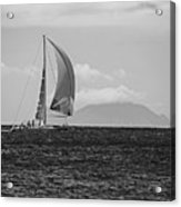 2017 Heineken Regatta Sailing Past Saba Saint Martin Sint Maarten Red Sail Black And White Acrylic Print