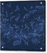 2017 Pi Day Star Chart Carree Projection Acrylic Print