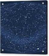 2017 Pi Day Star Chart Hammer/aitoff Projection Acrylic Print