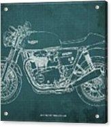 2018 Triumph Thruxton 1200 Blueprint Green Background Acrylic Print