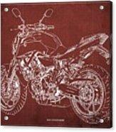 2018 Yamaha Mt-07 Blueprint - Red Background Acrylic Print