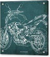 2018 Yamaha Mt07 Blueprint Green Background Fathers Day Gift Acrylic Print