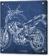 2018 Yamaha Mt07,blueprint,blue Background,fathers Day Gift, 2018 Acrylic Print