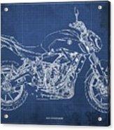2018 Yamaha Mt07,blueprint,blue Background,fathers Day Gift Acrylic Print