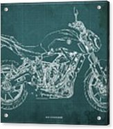 2018 Yamaha Mt07,blueprint,green Background,fathers Day Gift,2018 Acrylic Print