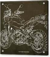 2018 Yamaha Tracer 900gt Blueprint Brown Background Two Wheels Move The Soul Acrylic Print