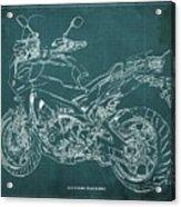 2018 Yamaha Tracer 900gt Blueprint Green Background Acrylic Print