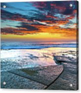 Sunrise Seascape And Rock Platform Acrylic Print