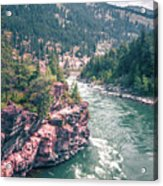 Kootenai River Water Falls In Montana Mountains Acrylic Print