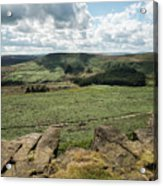 Beautiful Vibrant Landscape Image Of Burbage Edge And Rocks In S Acrylic Print