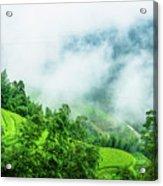 Mountain Scenery In Mist Acrylic Print