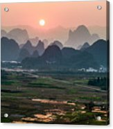 Karst Mountains Scenery In Sunset Acrylic Print