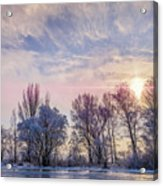 Frozen Water, Snow And Ice On The Dnieper River Acrylic Print