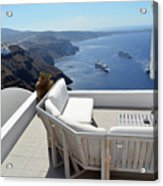 29 September 2016 Lounge Terrace And The View Of Volcanic Caldera In Santorini, Greece Acrylic Print