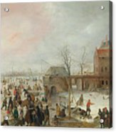 A Scene On The Ice Near A Town Acrylic Print
