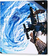 A Space Station Orbiting Above Earth Acrylic Print