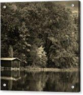 Autumn Lake Boathouse Acrylic Print