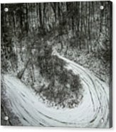 Bad Road Conditions While Driving In Winter Acrylic Print