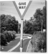 Bilingual English And Welsh Give Way Sign Anglesey Wales Uk Acrylic Print