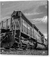 Blue Freight Train Engine At Sunrise  Acrylic Print