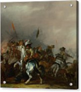 Cavalry Attacked By Infantry Acrylic Print