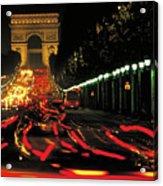 Champs Elysee At Night Acrylic Print