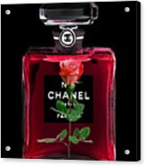Chanel Perfume With Red Roses Acrylic Print