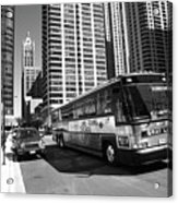 Chicago Bus And Buildings Acrylic Print
